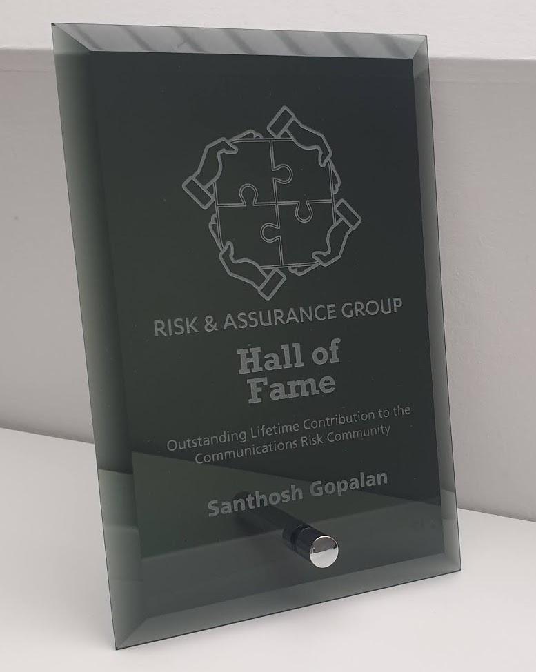 RAG Hall of Fame plaque for Santhosh Gopalan